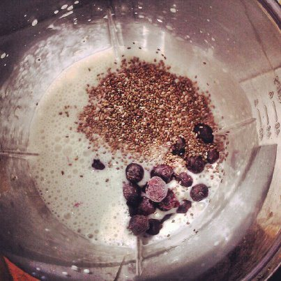 Coconut milk, Chia sees, and blueberry smoothie
