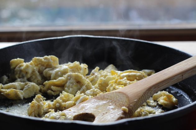 When it comes to scrambling eggs cast iron is king.