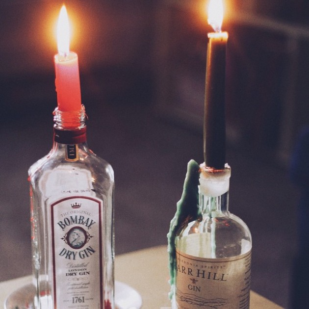 Gin Bottle Candle Holders