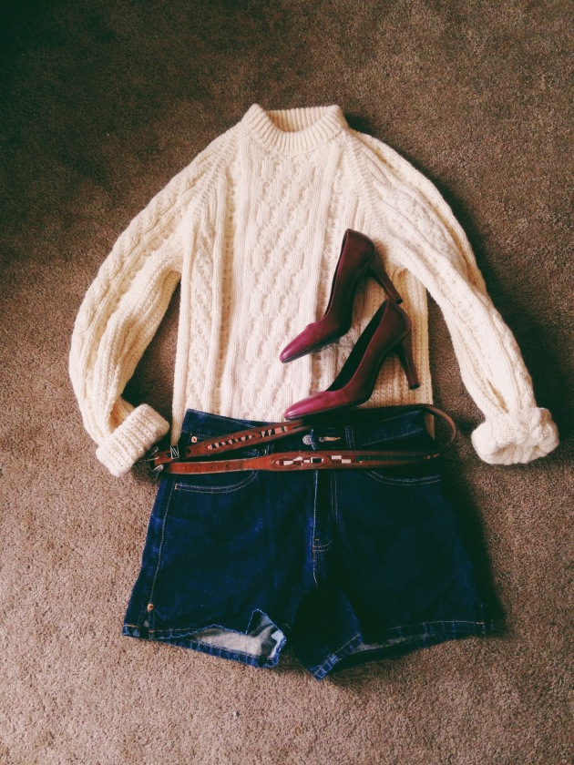 Denim shorts, Banana Republic heels, cable sweater